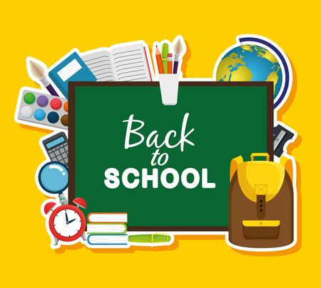 blackboard with backpack and books with global map to back to school vector illustration Zdjęcie Seryjne - 129825124
