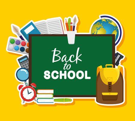 tableau noir avec sac à dos et livres avec carte mondiale pour retourner à l'illustration vectorielle de l'école