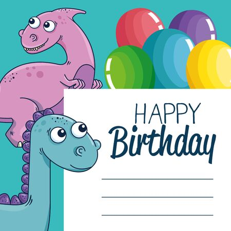 letter decoration with parasaurolophus and diplodocus with balloons decoration to happy birthday vector illustration