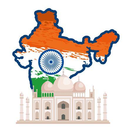 map with indian flag and taj majal building vector illustration design