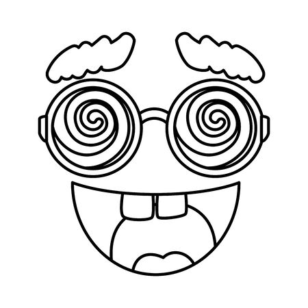crazy face emoticon icon vector illustration design  イラスト・ベクター素材