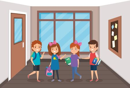 boys and girls students with books and note board to back to school vector illustration Illustration