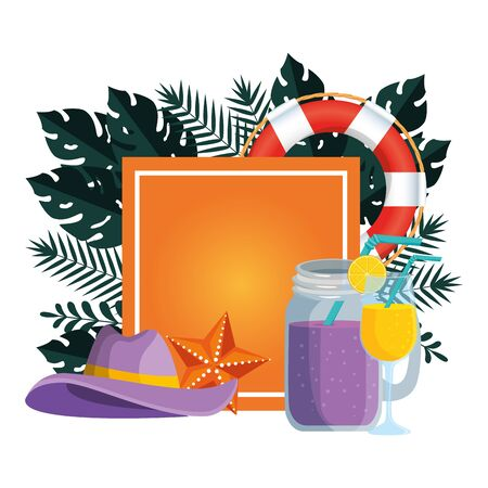 summer square frame with tropical leafs and set icons vector illustration design