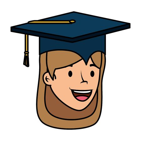 young student graduated girl head character vector illustration design Фото со стока - 129825142