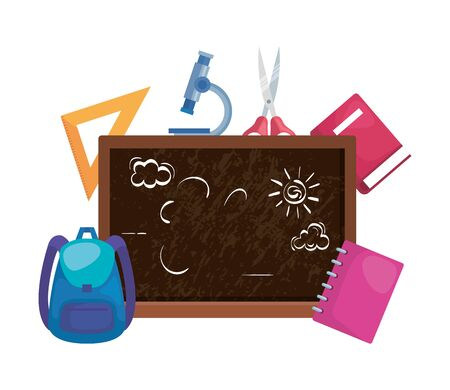 school chalkboard with schoolbag and supplies vector illustration design