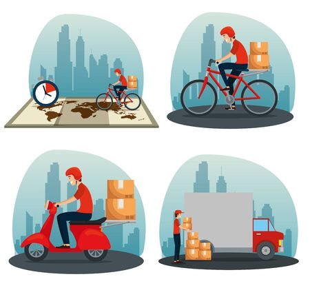set of man with boxes packages distribution to delivery service vector illustration