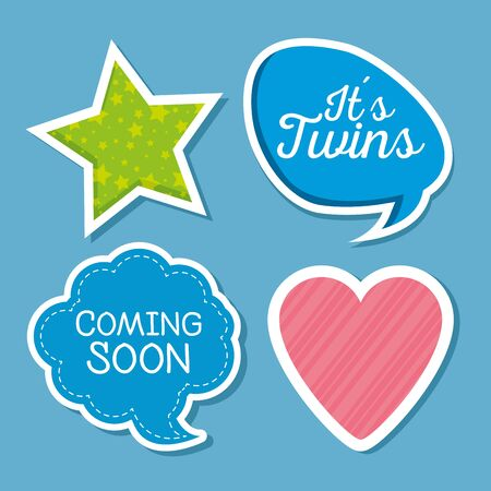 set of stars with chat bubbles message and heart over blue background vector illustration