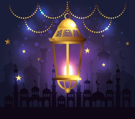 lights lamp hanging with castle decoration vector illustration