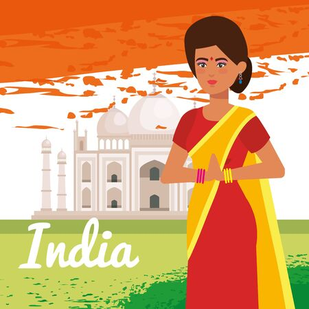 india woman tradional with taj mahal to independence day vector illustration