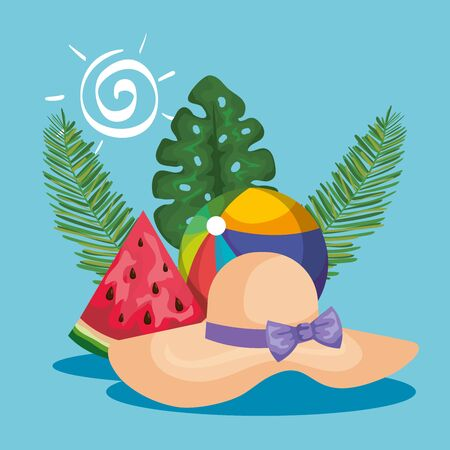 hat with beach ball and watermelon fruit with leaves plants to summer time vector illustration
