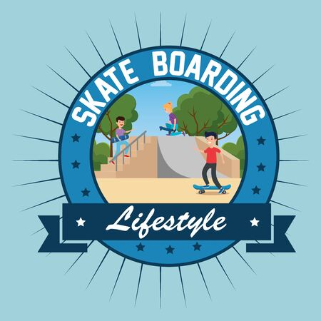 label of boys playing skateboard in the ramps with ribbon design vector illustration Ilustrace