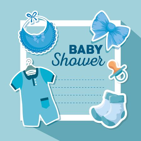 card invitation with bib and pijama with ribbon bow to baby shower vector illustration