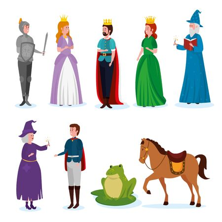 set of fantasy tale story character over white background, vector illustration