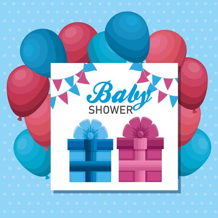letter invitation of pink and blue presents with balloons to baby shower vector illustration Çizim