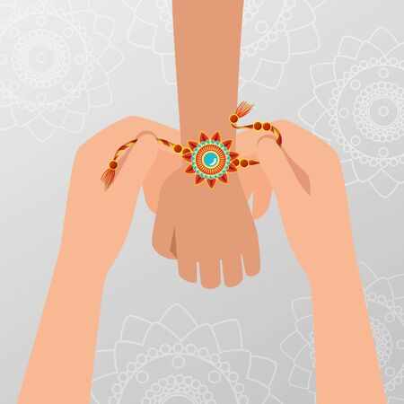 Manos con flores pulsera tradición hindú a raksha bandhan, ilustración vectorial Ilustración de vector