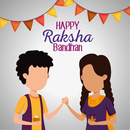 girl and boy siblings with party banner decoration to raksha bandhan, vector illustration