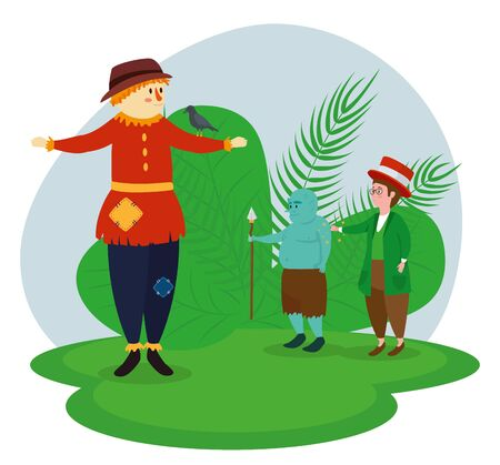 cute scarecrow and troll with boy magician to tale character, vector illustration