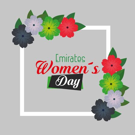 flowers and leaves design over blue background to emirates womens day, vector illustration Illustration
