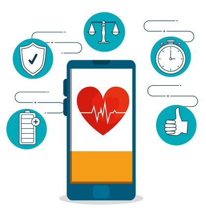 smartphone with heartbeat and health lifestyle exercise vector illustration