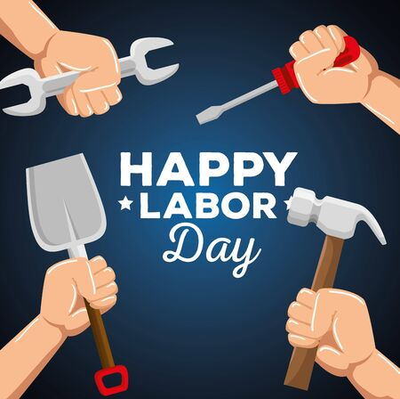hands with wrench and screwdriver with shovel and hammer over blue background, vector illustration Foto de archivo - 129825182