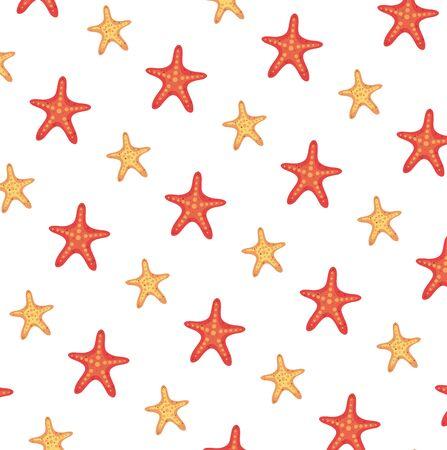 Diseño de ilustración de vector de fondo de patrón de animales estrellas de mar de verano