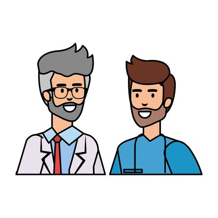 professionals doctor and surgeon characters vector illustration design Çizim