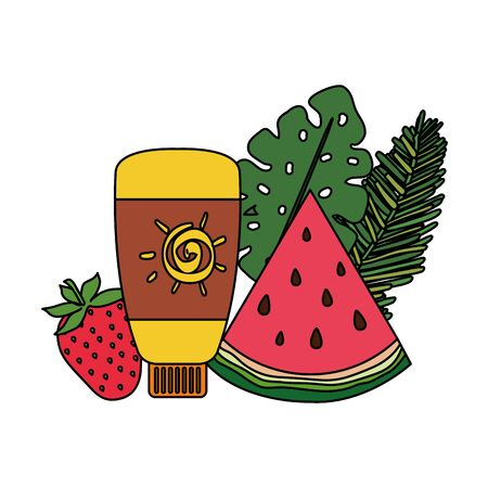 solar blocker bottle with strawberry and watermelon vector illustration design