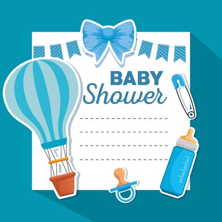 card decoration with feeding bottle and pacifier to baby shower vector illustration Çizim