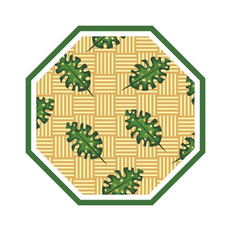 rhombus in straw with leafs vector illustration design Çizim