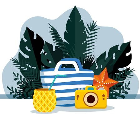 pineapple beverage with purse and tropical leaves plants to summer time vector illustration