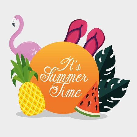 label of tropical fruits with flip-flop and flamish to summer time vector illustration