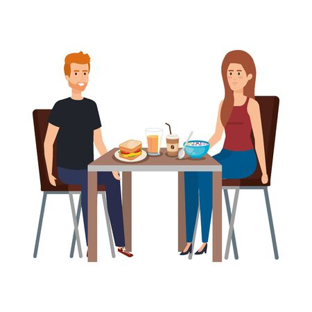 young couple eating in table characters vector illustration design Иллюстрация