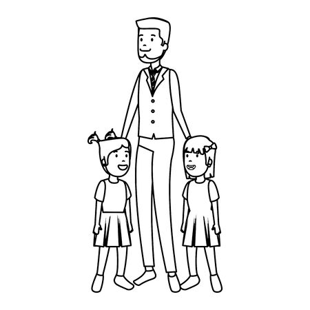 father with daughters characters vector illustration design 向量圖像