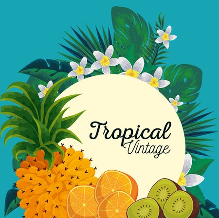 label with exotic fruits and tropical flowers vector illustration