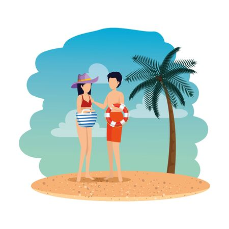 young couple with float and handbag on the beach vector illustration design 写真素材 - 129825209