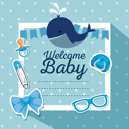 card of invitation celebration decoration with whale and pacifier to baby shower vector illustration Çizim