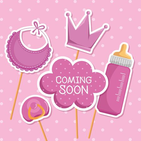 cloud message with feeding bottle and bib decoration to baby shower vector illustration