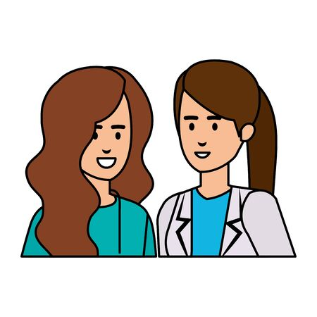 professionals female doctors characters vector illustration design