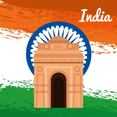 india emblem with architecture and tradional flag to independence day vector illustration Иллюстрация