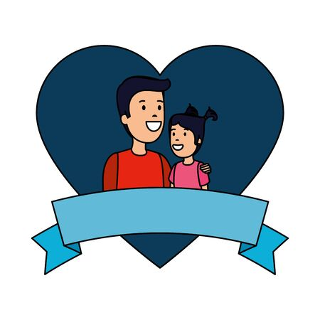 father with daughter in heart love vector illustration design
