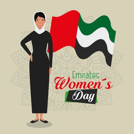 arabic woman with traditional flag desigb to emirates womens day, vector illustration