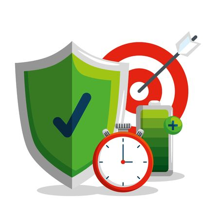 shield security with chronometer and target to balance vector illustration