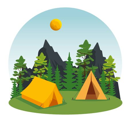 camp with pines trees and mountains with sun to wanderlust adventure vector illustration Illusztráció