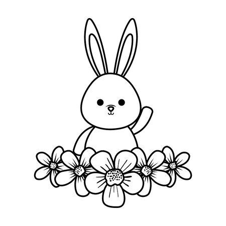 cute rabbit with flowers character vector illustration design