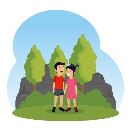 little kids couple characters in the field vector illustration design Standard-Bild - 129815306
