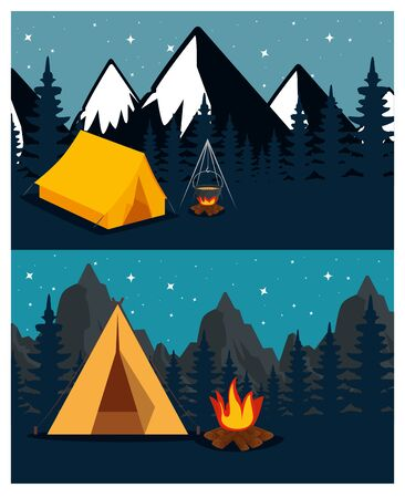 set of camp with firewood food and snowy mountains to camping adventure vector illustration