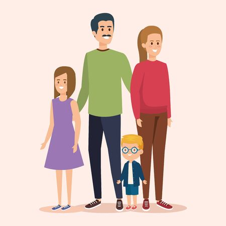 cute woman and man with son and daughter vector illustration Фото со стока - 129815310
