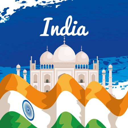 taj mahal with republic india flag to independence day vector illustration 일러스트