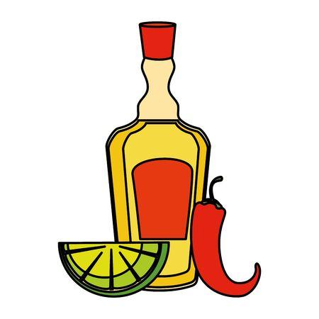 tequila bottle with lemon and chili pepper vector illustration design