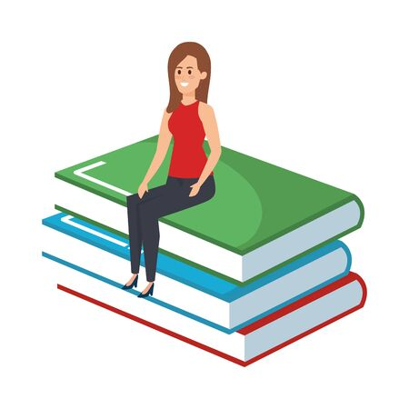 young teacher female sitting in books character vector illustration design Иллюстрация
